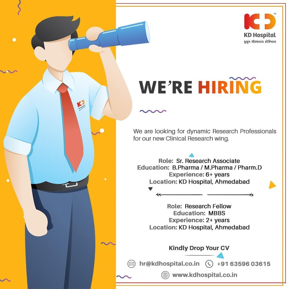 KD Hospital is looking for dynamic Research Professionals for its newly opened Clinical Research wing with the mentioned qualifications and experience.   If you feel you're the right candidate for the position, kindly drop your updated CV at hr@kdhospital.co.in  #KDHospital #HiringAlert #Connections #Looking #ClinicalResearch #ClinicalResearchAssociate #ClinicalResearchFellow #ClinicalTrials #DoctorsOfInstagram #Diagnosis #Therapeutics #HealthIsWealth #pandemic #socialmedia #socialmediamarketing #wellness #wellnessthatworks #Ahmedabad #Gujarat #India