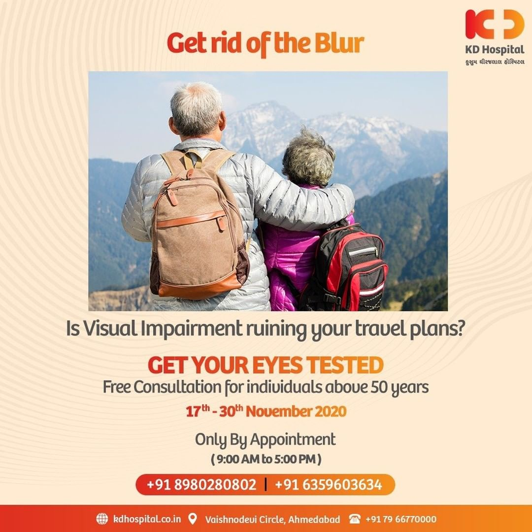 Try not to let your foggy vision ruin your exciting travel plans. Be part of our ongoing campaign of Free Eye Consultation (By Prior Appointment Only) at KD Hospital, valid till 30/11/2020. Call +918980280802 or +916359603634 between 9:00 AM to 5:00 PM to book an appointment. Cashless Facilities are also available at the hospital.   #KDHospital #EyeCheckUp #FreeEyeCheckUp #FreeEyeCamp #cataract #Blur #BlurryVision #blindness #blind #cataractsurgery #blindnessawareness #DoctorsOfInstagram #Diagnosis #Therapeutics #goodhealth #pandemic #socialmedia #socialmediamarketing #digitalmarketing #wellness #wellnessthatworks #Ahmedabad #Gujarat #India