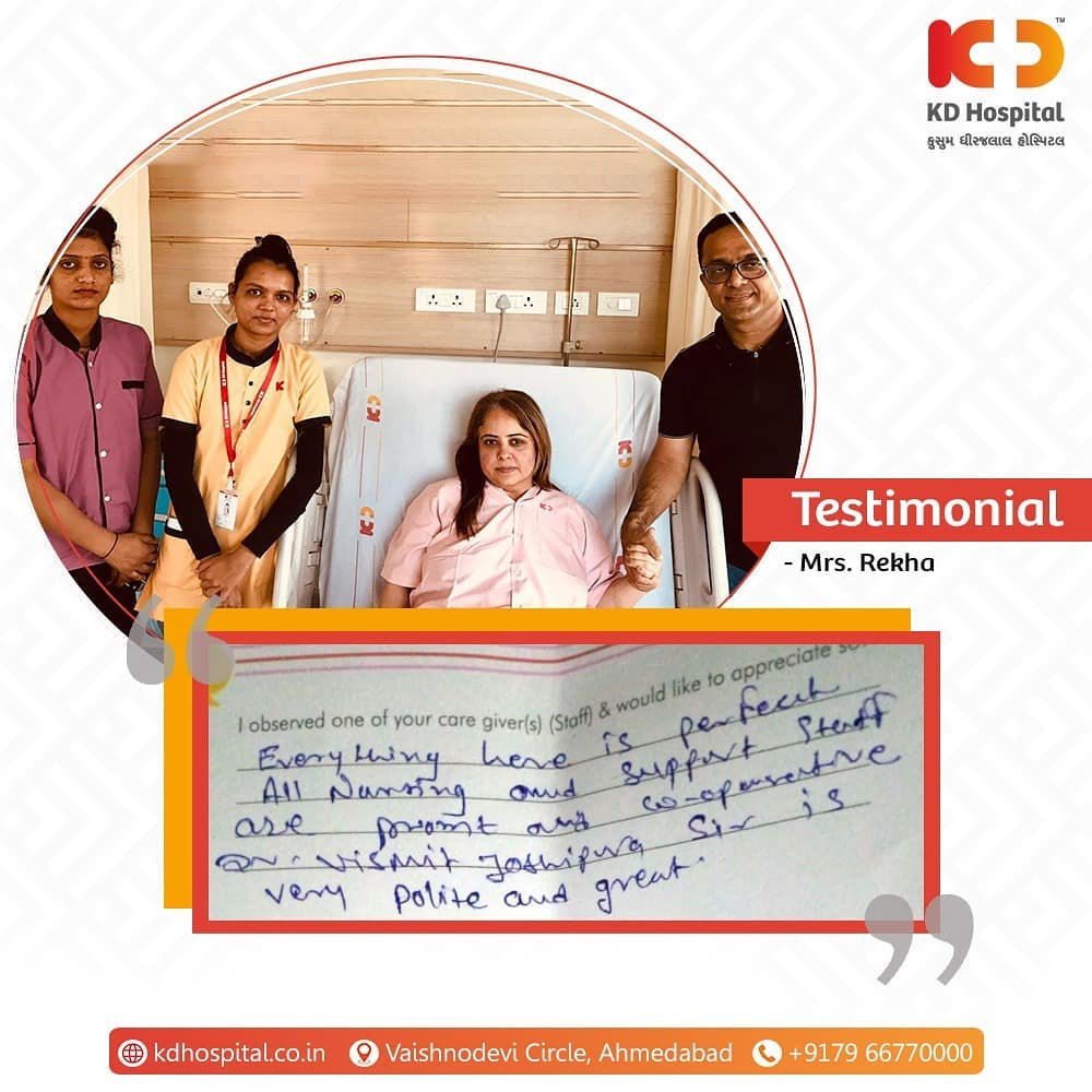 Mrs. Rekha with her husband appreciates the services provided by KD Hospital. We'll continue to treat and serve you with care and passion.  #KDHospital #MultiSpecialtyHospital #Compassion #Doctors #Diagnosis #Therapeutics #goodhealth #patienttestimonial #patient #testimonial #testimony #soical #socialmediamarketing #digitalmarketing #wellness #wellnessthatworks #Ahmedabad #Gujarat #India
