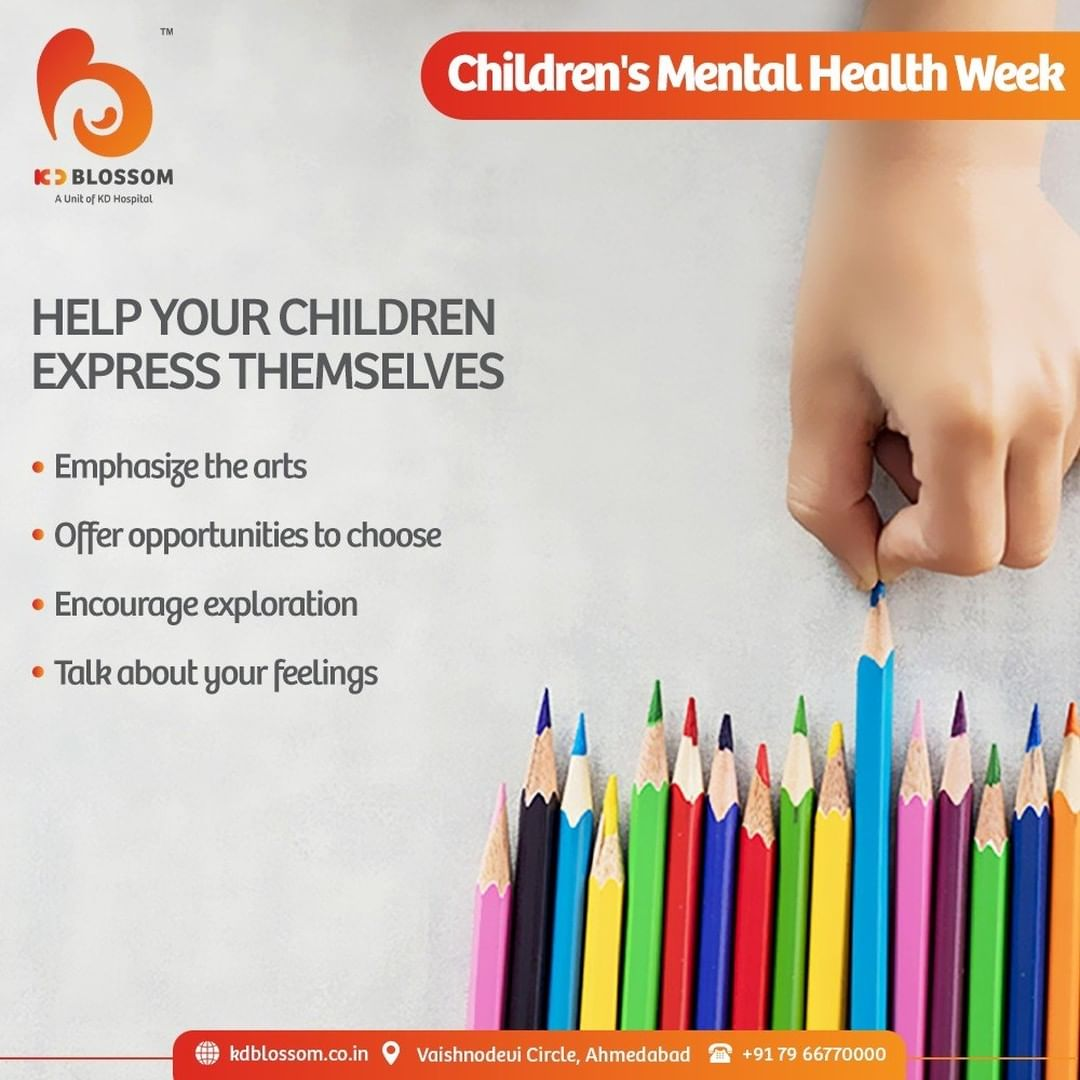 """This year's theme for Children's Mental Health Week is """"Express Yourself"""".  Parents should indulge in activities that encourage their kids to spend their time in art and exploring their interests instead of choosing on behalf for them. Discussing your emotions will also help you teach your children about healthy self-expression.   #KDHospital #KDBlossom #ChildrensMentalHealthWeek #ExpressYourself #ParentHood #MentalHealth #Awareness #goodhealth #pandemic #socialmedia #socialmediamarketing #digitalmarketing #wellness #wellnessthatworks #Ahmedabad #Gujarat #India"""
