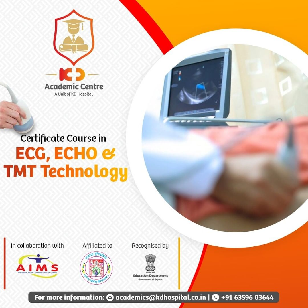 Boost your career with our Certificate Courses in ECG, ECHO & TMT technology. Click on the link in bio to know more about it. Call on +91 6359603644 for admissions. An initiative by KD Hospital, Ahmedabad.  #KDAcademis #KDHospital #Academics #Admission #courses #ECG #Echo #TMT #Echocardiography #medical #health #Connections #wellness #healthcare #paramedic #paramedical #paramedicalstudies #ParamedicalCourses #paramedicaltechnician  #medicalstudent #medicalschool #becomeaparamedic #placement #job #student #studentsuccess #Ahmedabad #Gujarat #India