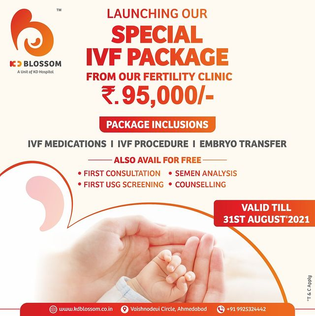 KD Blossom wants you to have a bundle of Joy by taking advantage of concessional rates and first free counseling for IVF. To book an appointment, give us a call on +919925324442. Don't miss out on an opportunity, the offer is valid till 31st August'21 only.  #KDHospital #KDBlossom #IVF #FertilityClinic #StayTuned #Baby #BabiesOfInstagram #IVFBaby #Diagnosis #Therapeutics #Awareness #wellness #goodhealth #wellnessthatworks #Nusring #NABHHospital #QualityCare #hospitals #healthcare #physicians #explore #surgeon #Ahmedabad #Gujarat #India